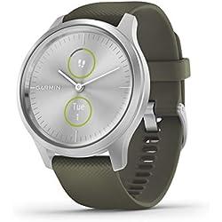Garmin Vívomove 3 Style : Montre Connectée à Aiguilles Mécaniques et Double Écran Tactile Couleur avec Suivi GPS et Garmin PayTM - 42 mm - Silver/ Silicone Moss Green - Cadran 42 mm