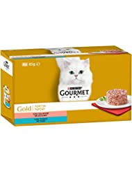 PURINA GOURMET GOLD Umido Gatto Tortini con Salmone, con Tonno - 48 lattine da 85g ciascuna (12 confezioni da 4x85g)