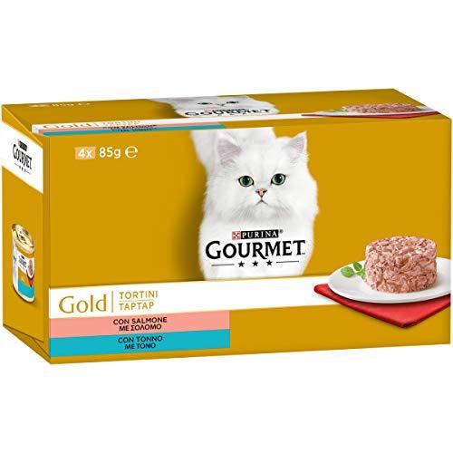 Purina Gourmet Gold Umido Gatto Tortini con Salmone, con Tonno, 48 Lattine da 85 g Ciascuna, 12 Confezioni da 4 x 85g