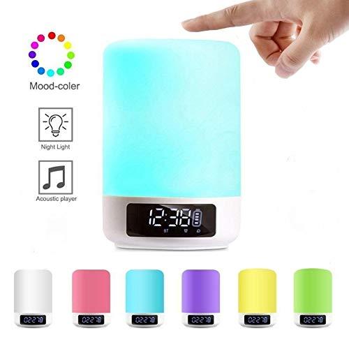 Luz De Despertador, Altavoz Bluetooth, Luz De Reposo, Siete Variaciones De Color, Brillo Ajustable Táctil, Dormitorio De Los Mejores Niños para Regalo, Recargable por USB