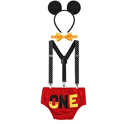 OwlFay Neugeborenen Kleinkind Baby Jungen Mickey Maus 1. / 2./ 3. Geburtstag Outfit Fotoshooting Kostüm Fliege +Clip-on Hosenträger +Hosen +Maus Ohren 4pcs Bekleidungssets Halloween Karneval (Mickey Maus Kostüm Kleinkind)