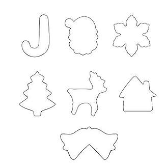 WARMWORD Moldes de Galletas, 7pcs Acero Inoxidable Galletas Cortador para Cookie, Fondant, Formas Navideña Variadas Fiesta Navidad Galletas, Árbol de Navidad, Santa Claus