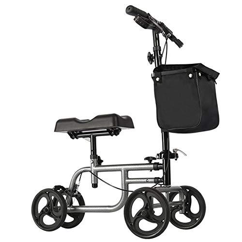 XINYAN JIA Leichtes Aluminium Rollator Folding 4 Räder Rollator Korb Und Tablett Leichte Faltbare Stahlrahmen Thick Reifen