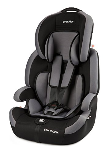 Babylon Star ISOFIX Silla de coche para niños 9-36 kg grupo 1-2-3, fabricada en Europa, color gris