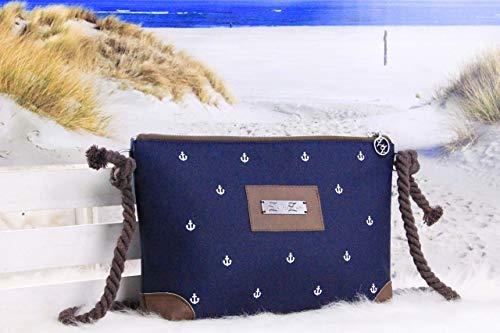 Umhängetasche Damen Allround Reißversschlusstasche klein Ledertasche Anker Weiß Blau Braun...