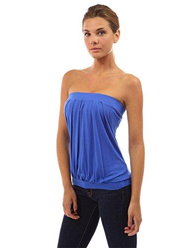 PattyBoutik Damen Sexy schulterfreies Top mit Plissee Blau