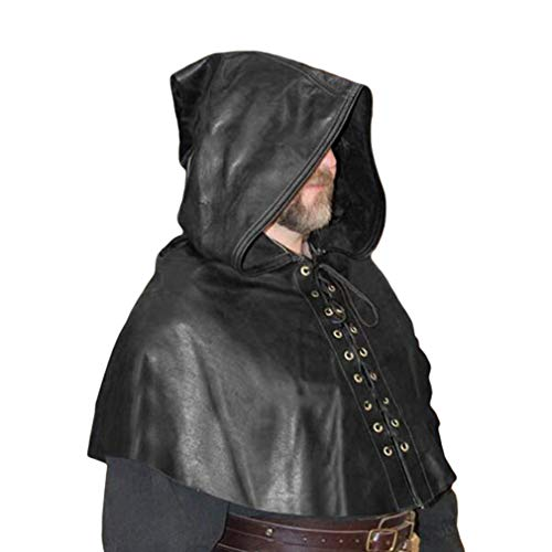 Yunhou Herren Mittelalter Kostüm Vintage Umhang mit Kapuze Gothic Steampunk Lace-up Cape Einfarbig Lose Kurze Umhang Halloween Cosplay Party Kostüm (Leder Look Cape Kostüm)
