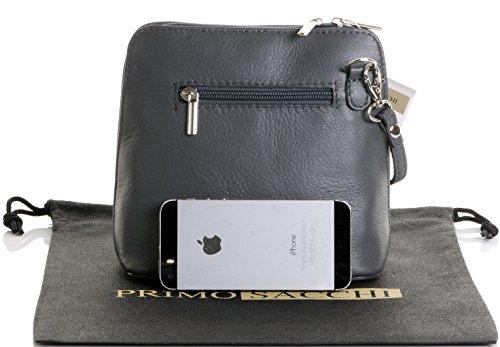 Italienische Leder, klein/Micro Umhängetasche oder Schultertasche Handtasche.Beinhaltet eine schützenden Aufbewahrungstasche. Dunkelgrau