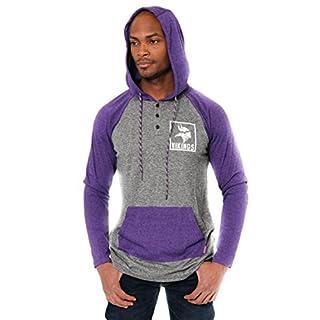 Icer Brands NFL Herren Henley Raglan Team Farbe Pullover Hoodie Sweatshirt, Minnesota Vikings L/S Henley Hoodie, violett