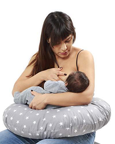 Cojin Lactancia Bebè, Funda Cojin 100% Algodòn,Extraíble y Lavable, Almohada Multifuncional para Madre y Bebé Relleno de Fibra de Poliéster Calidad Niimo®(Pez Azul)