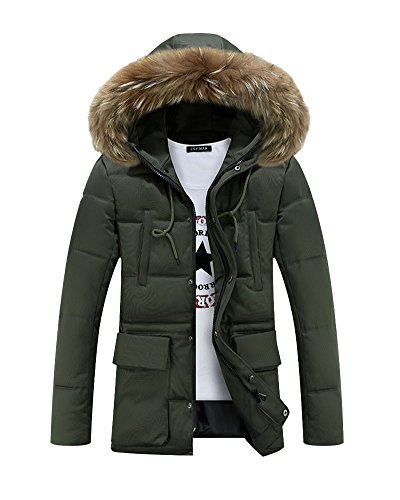 Winterjacke Herren Verdickte Wattierte Steppjacke Langer Mantel Mit Kapuzenjacke Zipper-Taste Grün M