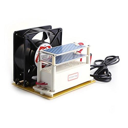 110V 10g / h Keramik Ozon Generator Luftreiniger Sterilisator Doppel Blätter aus Keramik Ozon Platten mit Kühlventilator(EU AC220V) -