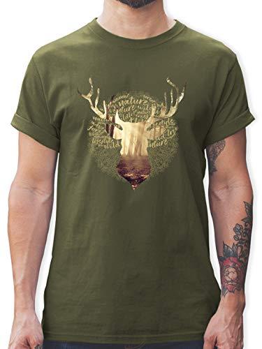 Oktoberfest Herren - Hirsch - XL - Army Grün - L190 - Herren T-Shirt und Männer Tshirt Herren Hirsch