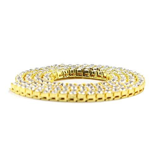 6ca9676ceed7a Jacklin F Unisex Iced out Tennis Chain 5mm Hip Hop Gold Artificial Diamond  CZ Chain 20 24 30 Pulgadas Collar de Hip Hop