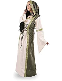 Medieval Costume - Hooded Dress Saphiria With Long Sleeves - Natural/Green