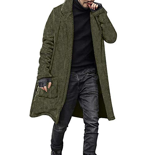 Preisvergleich Produktbild Herren Winterjacke Parka Jacke,  EUZeo Wärmejacke Flauschige Wintermantel Streetwear Casual Einfarbig Retro Strickjacke Slim Fit Wollmantel Business Überzieher Schlank Lange Windbreaker