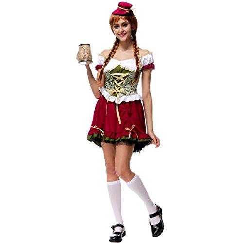 Nihiug München Oktoberfest Halloween Kleid Sexy Restaurant Work Wear Bar Maidwear Klassische Menschliche Skelett Retro Damen,A-M