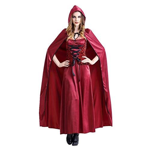 Kostüm Batman Red Hood The - GJKK Kostüme für Erwachsene Damen Halloween Cosplay Rotkäppchen Vintage Langes Kleid Retro Partykleid Little Red Riding Hood Rotkäppchen Umhang mit Kapuze für Halloween Weihnachten