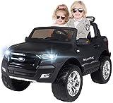 Actionbikes Motors Kinder Elektroauto Ford Ranger - Allrad 4x4 - Touchscreen - 2 Sitzer - 4 x 45 Watt Motor- 2,4 Ghz Fernbedienung - Elektro Auto für Kinder ab 3 Jahre (Allrad Schwarz Matt lackiert)
