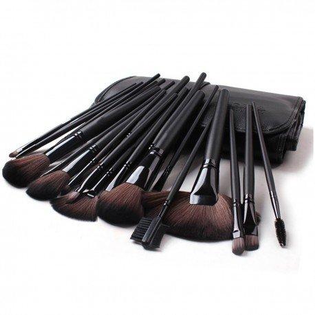 24 pinceaux maquillage professionnels avec trousse - Noir
