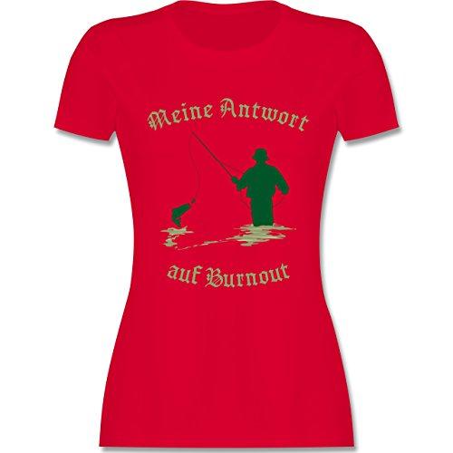 Angeln - Meine Antwort auf Burnout - tailliertes Premium T-Shirt mit Rundhalsausschnitt für Damen Rot