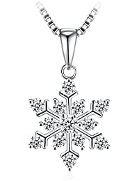 "Snowflake Necklaces for Women, 925 Sterling Silver Cubic Zirconia J.Rosée Jewellery Necklace, 18""+2"" Extender, Mother's Day Gift for Women, Gift Packaging"