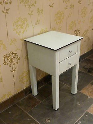 white glass bedside cabinet, 2 drawer - X 1 (Sophie Rose Range)
