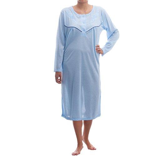 Lucky chemise de nuit à manches longues couleur unie avec broderies de qualité et passepoil triple Bleu - Bleu clair
