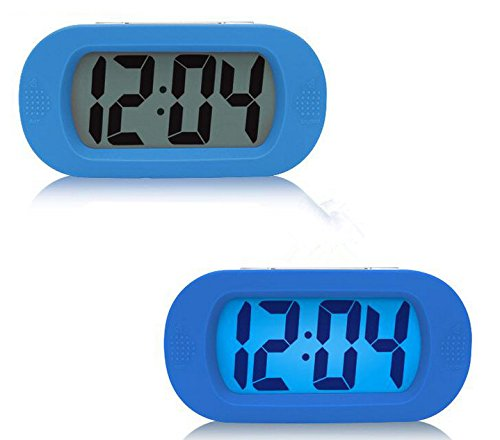 Moon mood® Lautlos LCD Digital Großbild Wecker Silikon Schutzhülle Stoßfest Snooze Digitalanzeige Wecker (Blau) (Unzerbrechliche Wecker)