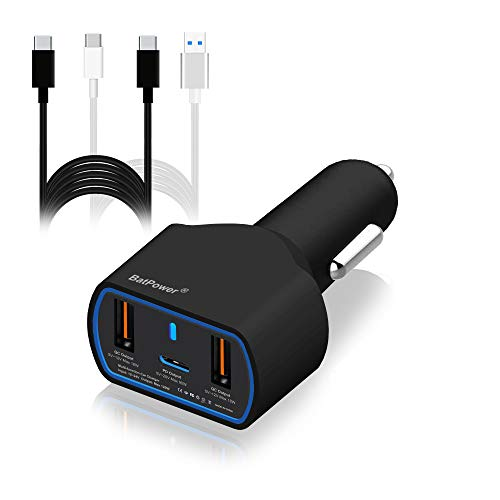 BatPower UL 120W 90W PD USB-C Auto-Ladegerät für HP Spectre X360 Surface Book 2 Apple Dell XPS Razer Lenovo Asus Acer Laptop PD USB C Car Charger Adapter Kfz-Netzteil USB QC3.0 -Verbinder Type C -