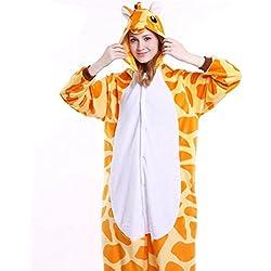 IFLIFE Kigurumi Pijamas Unisexo Adulto Traje Disfraz Adulto Animal Pyjamas S(para Altura:148-158cm), Jirafa