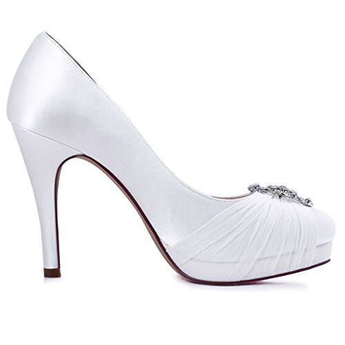 ElegantPark HC1609P Donna Punta Chiusa Pieghe Chiffon Pompe Rhinestones Fibbia Satin Scarpe Da Sposa Bianco