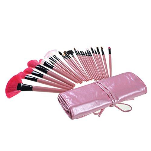 PIXNOR 24pcs Pinceaux de Maquillage Brosse Cosmétiques + PU Cuir Pouch (Rose)