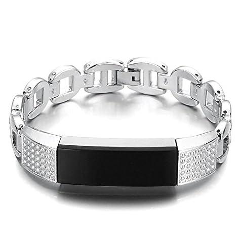 Pour Fitbit Alta HR, Emorpal de luxe en acier inoxydable Métal Remplacement Bracelet de montre Sports poignet Bracelet Sangle pour Fitbit Alta HR, Silver