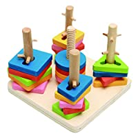 Vi.yo Shape Geometric Sorting Board – Stack Wooden Educational Toy Wood Brain Teaser Puzzles for Kids 1-3 Year Old
