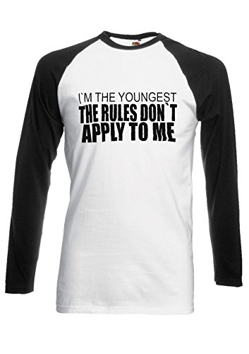 I Am The Youngest Rule Siblings Novelty Black/White Men Women Damen Herren Langarm Unisex Baseball T Shirt Verschiedene Farben *Schwarz
