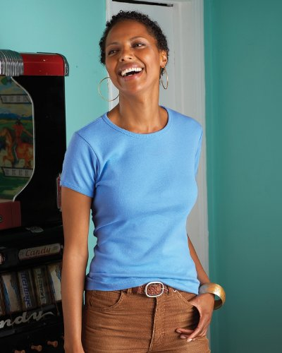 Amboss 1441Damen-Short Sleeve 1x 1Rib Scoop Neck T–Shirt Carolina Blue