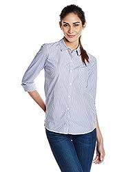 GAP Women Fitted Boyfriend Stretch Poplin Shirt (1420061038641_524017360_Grey Stripe_M)