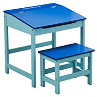 KIDS CHILDRENS WOODEN DESK AND CHAIR SCHOOL STUDY RETRO LIFTING TOP CHILD SET IN BLUE