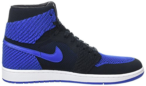 Nike Herren Air Jordan 1 Retro Hi Flyknit Basketballschuhe Schwarz (Black Game Royalwhite)