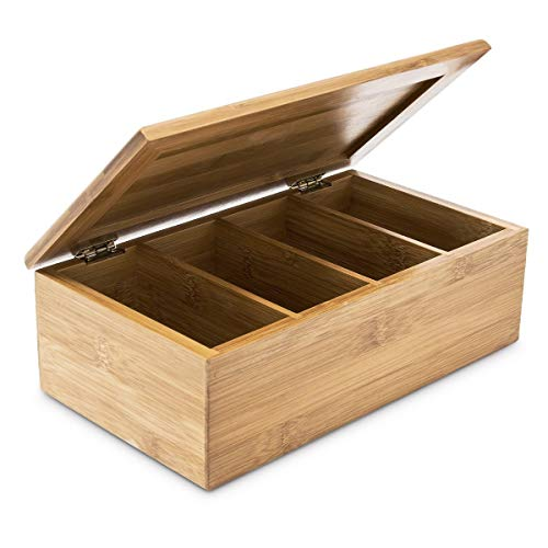 Relaxdays Teebox HBT: 9 x 28,5 x 16 cm Teekiste aus Bambus mit aufklappbarem Deckel Teedose mit 4 Fächern für circa 80 Teebeutel als Teebeutelbox und Schmuckkästchen aus Holz kein Aromaverlust, natur