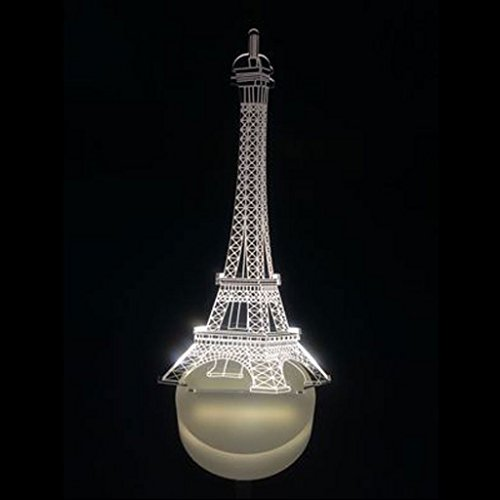 MagiDeal Führte 3D Beleuchtung Eiffelturm Illusion Licht Lampe Mikro-USB-Lampe 7 Farbwechsel
