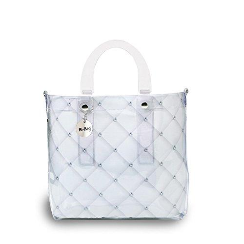 BI-BAG borsa donna modello DAILY DIAMOND + pochette interna Bianco