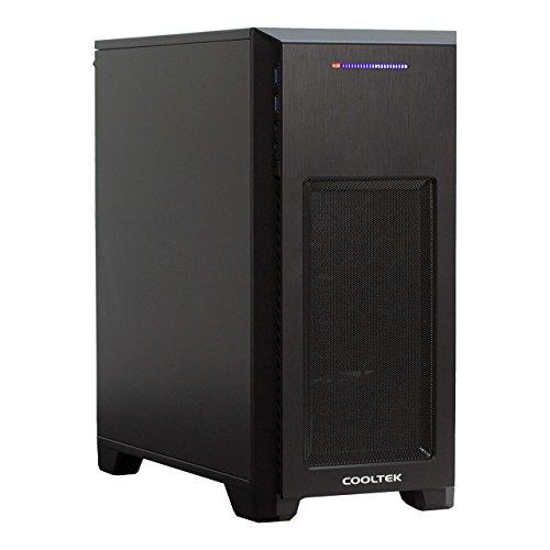 Cooltek 600045440 MT-03, Micro-ATX Mini-Tower, 2x USB 3.0, SD/MMC/MS Kartenleser, 1x 120 mm Lüfter (hinten), Schwarz