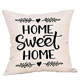 YWLINK 1PC Tirar Almohada Sweet Home Cotton Linen Square Throw Fundas De Almohada DecoracióN para El Hogar Funda De ColchóN El Sofá CojíN(Sin Almohada) 45cm X 45cm Regalo para La Familia
