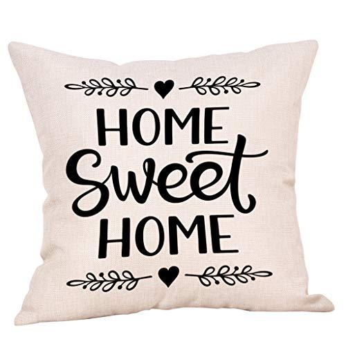 YWLINK 1PC Tirar Almohada Sweet Home Cotton Linen Square Throw Fundas De Almohada DecoracióN para El...
