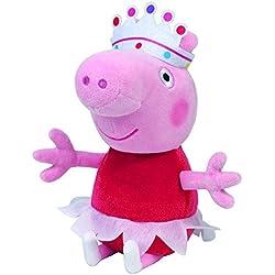 Peppa pig - Peluche de Peppa bailarina con tutú, corona, 25 cm (TY 7196260)