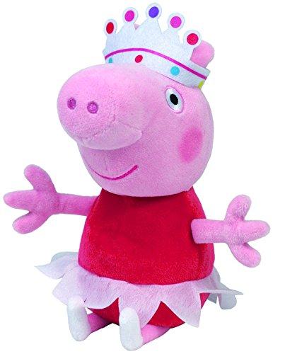 arge - Ballerina, Schwein mit rotem Kleid, Krone und Tutu, 25 cm (Peppa Pig Plüsch Spielzeug)