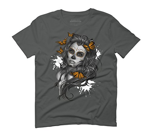 Sugar Skull Girl Men's Graphic T-Shirt - Design By Humans Anthracite