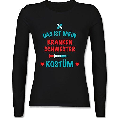 Karneval & Fasching - Das ist mein Krankenschwester Kostüm - tailliertes Longsleeve / langärmeliges T-Shirt für Damen Schwarz